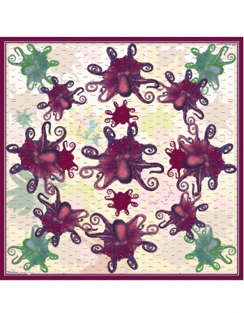 OCTOPUS ROSE Silk scarf